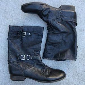 STEVE MADDEN Black Leather Blue Zipper Moto Boots